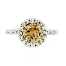 18k Gold 1.56ctw GIA Fancy Orange Brown Diamond Solitaire Halo Engagement Ring