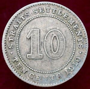 Straits Settlements 10 Cents 1910 (H1109)