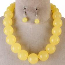 Lt Yellow Lucite Bead Gradual Necklace earring