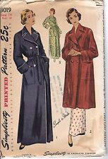 Vtg Simplicity 1940 40s 1950 50s Pattern 3019 Robe Dressing Night Gown 14