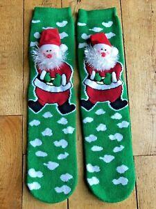 New w/o Tags Christmas 3D Shaped Santa Head Ladies Socks - Rubber Snowflakes