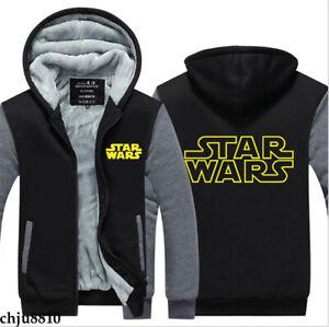 Star Wars Sweatshirt Winter Warm Sweater Unisex Thick Hoodies Zip Jacket Coat