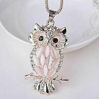 Women Crystal Opal Owl Pendant Chain Gold Sweater Long Necklace Jewelry Gift