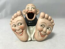 Schafer & Vater Whimsical Porcelain-Baby Boy With Big Happy Feet-Match Holder