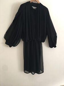 WAYNE CLARK Aline Marelle dress Black silk polyester Spec Occasion Size 10 12