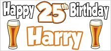 Lager Pint 25th Birthday Banner x2 Party Decoration Son Mens Grandson ANY NAME