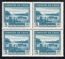 CHILE 1938 STAMP # 261 wmk 1 MNH BLOCK OF FOUR OSORNO VOLCANO