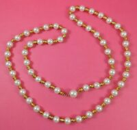 Vintage Faux Pearl Gold Tone Nuggets Beaded Necklace 38 Inches