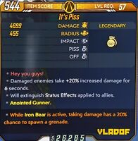 LEVEL 57 It's Piss: Iron Bear 20% Chance to Spawn Grenade, Borderlands 3 (Xbox)