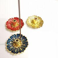 9Holes Lotus Incense Burner Holder Flower Statue Censer Plate For Sticks&Cone bh