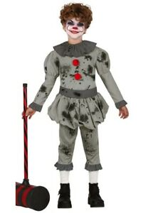 Kids Pennywise Style Scary Grey It Clown Childrens Fancy Dress Horror Costume
