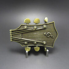 Guitar Head Music Musician Country Antique Bronze Metal Belt Buckle