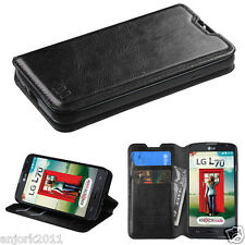 LG OPTIMUS L70 EXCEED 2 REALM WALLET FOLIO CASE W/ CARD SLOT COVER BLACK