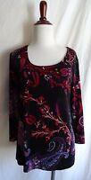 Chico's Travelers Size 1 Red Black Purple Flower Paisley Print Top Shirt Blouse