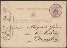 Belgium, 1878. Post Card H&G 11,Wellin - Brussels