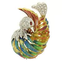 Vintage 18k Yellow Gold Multi Color Enamel 46 Diamond Peacock Pin Brooch