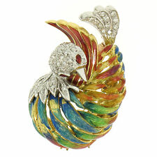 VINTAGE 18ct Oro Amarillo multicolor esmalte 46 Diamante Pavo Real Broche