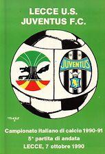 CARTOLINA SPORT LECCE U.S. - JUVENTUS F.C. CAMPIONATO DI CALCIO 1990-91  C6-344