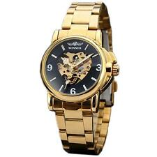 Luxury Gold Stainless Steel Band Skeleton Women Automatic Mechanical Dress Watch