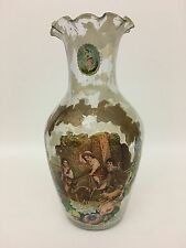 Late 19th to Early 20th Century Decoupage Glass Vase