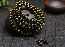 8mm Tibetan black agate Bead carve Mantra om mani padme hum Amulet Bracelet