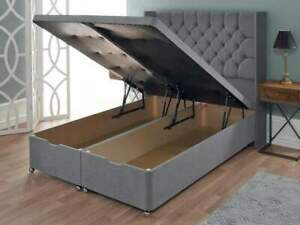 Plush Velvet Upholstered Divan Ottoman Storage Bed Frame with Winged Headboard