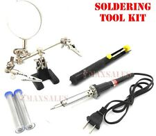 Soldering Tool Kit 60W Solder Iron, (2) Solder Wire, Helping Hand & Pump
