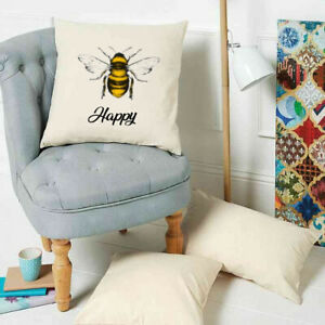 Cushion pillow cover printed with beautiful Bee Happy design - fare trade cotton