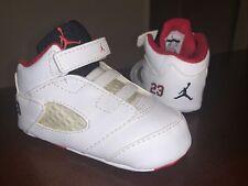 Baby/Infant Jordan 5 Retro Soft Bottom Crib Shoes 'White/Fire Red' - Size 4C