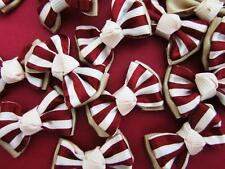 40 Stripe Satin Ribbon Bow Applique/French Knot/Hand made/Red F74-Burgundy/Brown