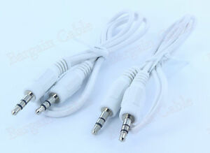 2 Pack 2FT White 3.5mm M/M Stereo Audio Cable for iPod iPhone mp3(3S11-02WHT-2P)