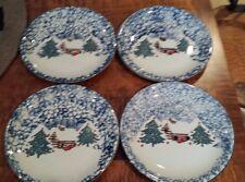 4 Folkcraft Christmas Country Cabin Tienshan Blue & White Sponge Dinner Plates