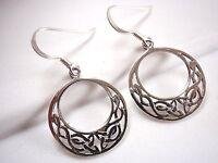 Round Celtic Earrings 925 Sterling Silver Dangle Corona Sun Jewelry