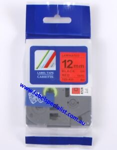 Laminated Brother P-Touch TZe-431compatible12mmx8m Black-On-Red Tape