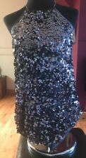 Ladies Size 14 Be Beau Sparkly Steal Blue Christmas Party Built In Necklace