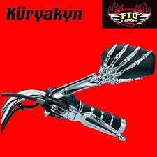 Kuryakyn Chrome Skeleton Hand Mirrors for Harley Davidson 1759