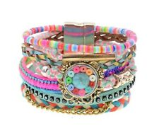 Colorful Beaded Multi-layer Leather Bracelets Bangle For women Fashion Jewelry