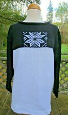 Hand Knit Black & White Color Block Nordic Sweater Large