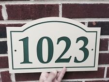 """Arched House Number Sign Address Plaque  1/4"""" King ColorCore Tan/Green"""