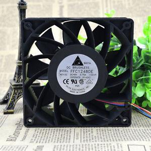 2 PCS DELTA FFC1248DE Cooling Fan DC 48V 0.75A 120mm x 120mm x 38mm 4 WIRE