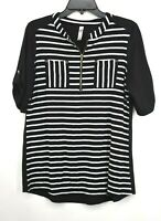 Penseption Concept Womens Black & White Short Sleeve 1/4 Zip Striped Shirt Sz M