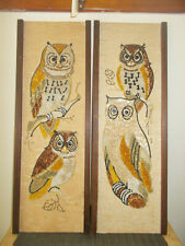 2 VINTAGE MCM OWL GRAVEL PEBBLE WALL ART GREAT COLOR 1960's 70's