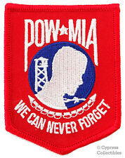 POW-MIA iron-on PATCH new MILITARY BIKER EMBLEM - RED WHITE BLUE embroidered