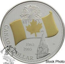 Canada 2005 $1 40th Anniversary of Canada's National Flag Proof Gold Pl. Dollar