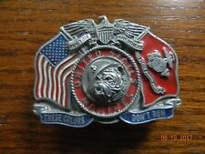 USMC  PEWTER  BELT BUCKLE UNITED STATES MARINE CORP THESE COLORS DONT RUN 1991