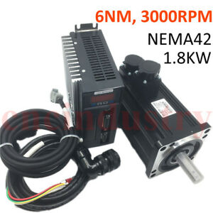 DHL Free ! 1.8KW 6NM Servo Motor Driver Kit 3000RPM Nema42 +Encoder Power Cable