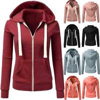 Women Winter Long Sleeve Patchwork Solid Hooded Zipper Casual Warm Coat Jacket