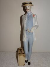 ROYAL DUX BOHEMIA SIGNED STANDING MAN, CANE, SUITCASE BISQUE CERAMIC FIGURINE