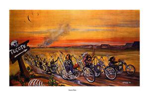 Dave Mann Ed Roth Studios Print Poster Bike Chopper Tecote Run