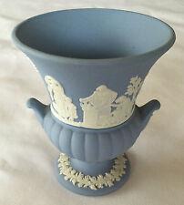 Wedgwood Blue Jasperware Mini Bud Vase Urn w/ Handles Sacrifice , Euc